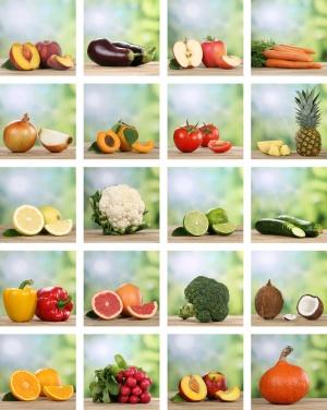 Collage von Früchte, Obst und Gemüse wie Apfel, Orange, Zitrone und Tomate
