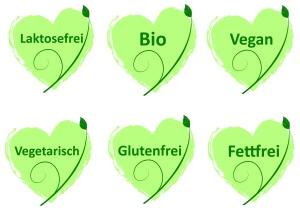 Vegan - Bio - Laktosefrei - Buttons Logos