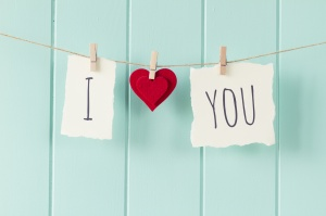 """I love you"" hanging on a rope with clothespins. A robin egg blue wainscot as background. Vintage Style."